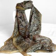 Indian silk scarf square light brown
