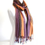 Echarpe indienne coton orange et violet