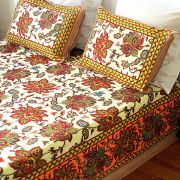 Indian printed bed sheet flowers