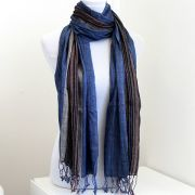 Indian shawl or scarf mixed cotton blue