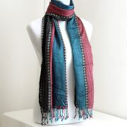 Indian shawl or scarf cotton pink and blue