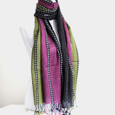 Indian shawl or scarf cotton gold and pink