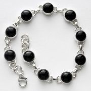 Indian bracelet silver and black onyx