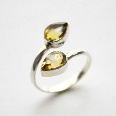 Indian silver ring with citrines T9.5