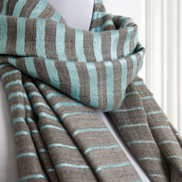 Indian Cashemere wool scarf grey and blue