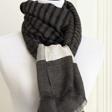 Indian Cashemere wool scarf grey and white