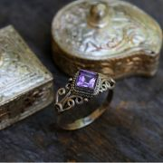 Indian silver ring and amethyst T7.5