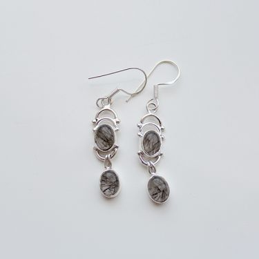 Silver and quartz stone Indian earrings