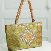 Indian ethnic handbag Andaz green and red