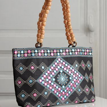 Indian ethnic handbag Andaz blue and pink