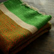 Indian carpet orange and green Khaadi Dari
