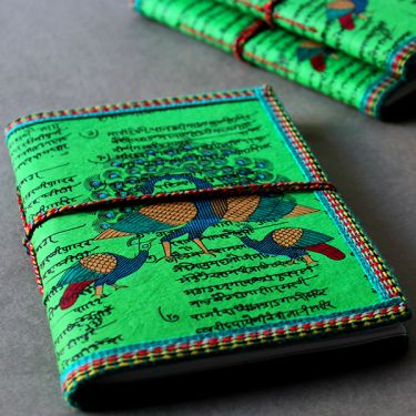 Indian handicraft diary peacock green