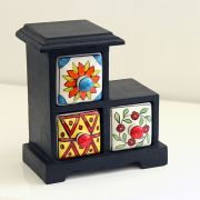 Indian box with 3 drawers ceramic red blue