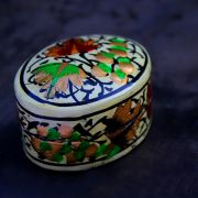 Indian papier mache box small white