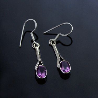 Silver and amethyst Indian earrings