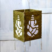 Indian handicraft paper lamp Ganesh green