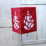Indian handicraft paper lamp Ganesh red