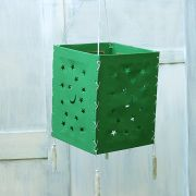 Indian handicraft paper lamp Stars green