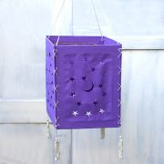 Indian handicraft paper lamp Stars purple
