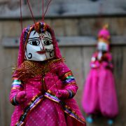 Indian handicraft puppets couple pink
