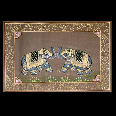 Indian miniature painting Elephants light brown