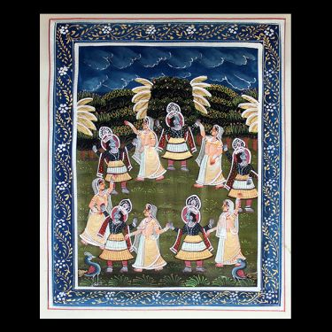 Indian miniature painting garden white