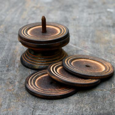 Indian handicraft wooden coasters x6
