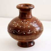 Indian wooden handicraft flower pot