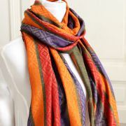 Indian shawl or stole diamond orange