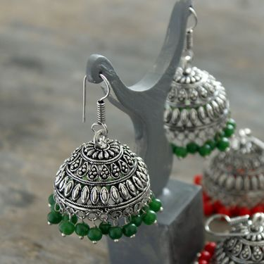 Indian earrings Jhumka green