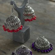 Indian earrings Jhumka pink
