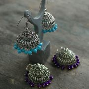 Indian earrings Jhumka blue