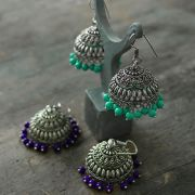 Indian earrings Jhumka turquoise