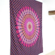 Indian cotton wall hanging Mandala purple and pink