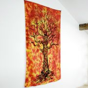 Indian cotton wall hanging black and orange tree