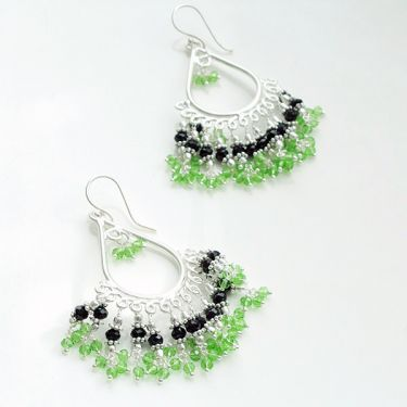 Indian metal earrings fancy jewelry Green beads