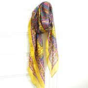 Indian silk scarf yellow and pink