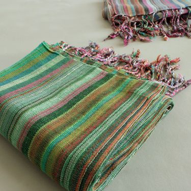 Indian shawl or scarf cotton green