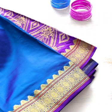 Indian saree blue and purple