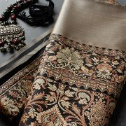 Indian saree art silk black and light brown