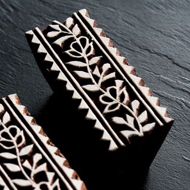 Indian wooden printing block Leaves