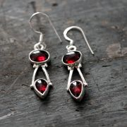 Silver and garnet Indian earrings