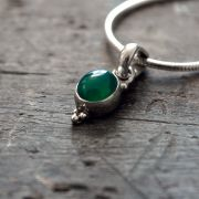 Silver and green agate Indian pendant