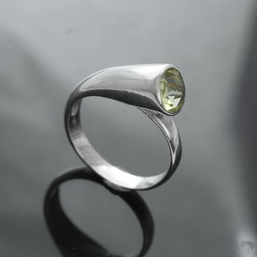 Indian silver and citrine ring S7.5