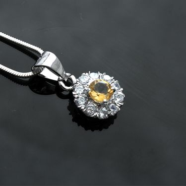 Silver and citrine and zircons Indian pendant