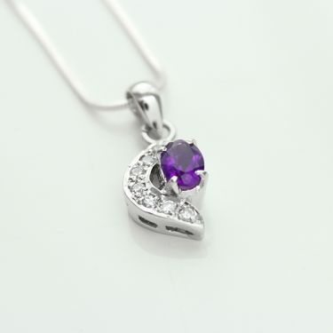 Silver and amethyst and zircons Indian pendant