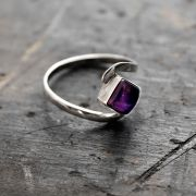 Indian silver ring and amethyst