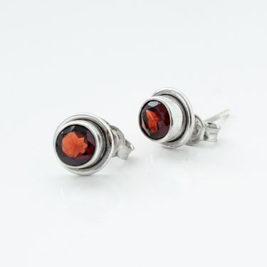 Silver and garnets Indian studs