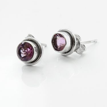 Silver and amethysts Indian studs
