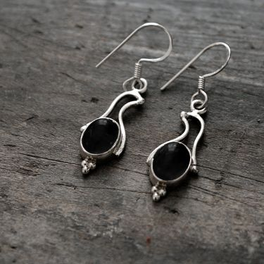 Silver and black onyx Indian earrings